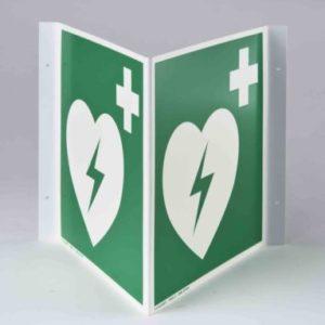 Winkelschild Defibrillator
