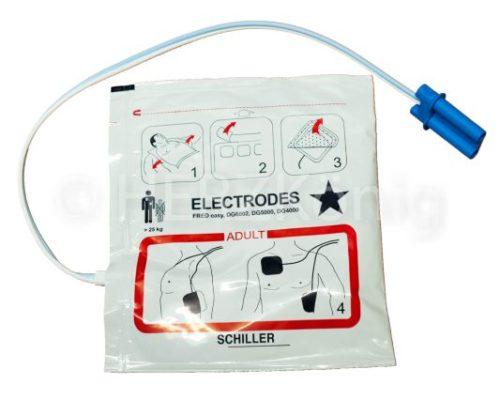 Defibrillationselektroden für Erwachsene, großer Stecker, vorkonnektiert, SCHILLER